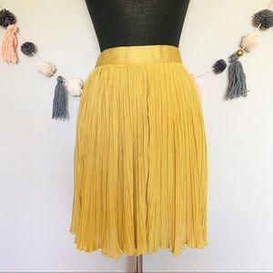 Olive Olivia Mustard Pleated Skirt